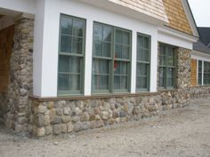 Foundation Covering with Natural New England Thin Stone Veneer Stone Porches, Thin Stone Veneer, Drip Edge, House Foundation, Arrow Keys, Close Image, New England, Building A House, Outdoor Living