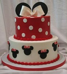 Cake for Minnie Mouse Party- could do white cake with red dots