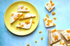 frozen mango yoghurt bark made with just 3 ingredients!