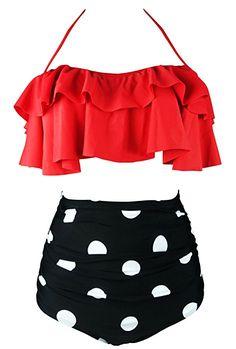 f6f9f7da3a Cocoship Big White Polka Dot Black & Red Retro Boho Flounce Falbala High  Waist Bikini Set · Women's Swimsuits ...