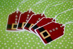 Santa Christmas tag set of 12, Santa tag. $9.00, via Etsy.
