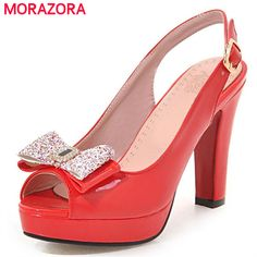MORAZORA Slingbackds shoes woman in summer women pumps high heels shoes  fashion sexy lady platform shoes 4218d58334f8