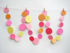 @Liza Coonse this is all you! All you need is a sewing machine and some circles! Great decor for the party - in different shades of pink!