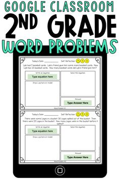 These Google Classroom 2nd grade word problems are perfect to use for digital learning. These addition and subtraction word problems involve taking apart, putting together, and comparing with unknowns in all positions. These are to be used in Google Slides.