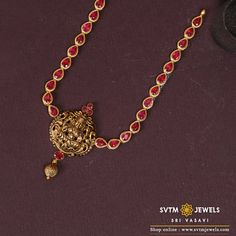 Be attractive by wearing this yellow gold long necklace studded with Ruby stones. Silver Jewellery Indian, Gold Jewellery Design, Handmade Jewellery, Ruby Necklace Designs, Gold Ruby Necklace, Gold Choker, Gold Necklaces, Pendant Necklace, Light Weight Gold Jewellery