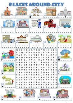A wordsearch for practicing places in and around a city. Key for the wordsearch is given. English Writing Practice, English Vocabulary, Writing Skills, English Grammar, Teaching English, Primary Activities, English Activities, English Lessons, Learn English