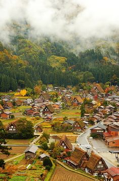 Shirakawa, Japan. Shirakawa is known for it's triangle-shaped houses, a style known as gassho, where the roofs resemble hands folded in prayer #Aerial #Bird's-eye