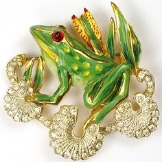 CoroCraft Sterling Frog on Three Pave Lily Pads Pin