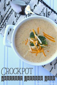 Crockpot Broccoli Cheddar Soup.  Yum!  Maybe make a roux first next time so it's a little thicker.