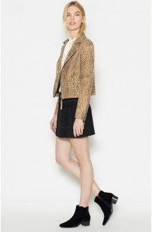 Ailey C Leather Jacket - Leopard