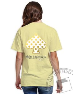 Alpha Omicron Pi - Gold Foil Spade V-Neck (Lemon) by ABD BlockBuy! Available until 10/28, $19-$23Adam Block Design | Custom Greek Apparel & Sorority Clothes |www.adamblockdesign.com