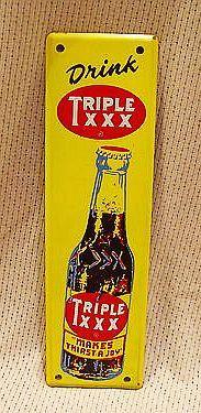 Triple XXX Root Beer Antique Door Push Sign  (Vintage Soda Advertising)