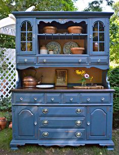 blue painted hutch/ Heir and Space Refurbished Furniture, Paint Furniture, Repurposed Furniture, Furniture Makeover, Home Furniture, Furniture Refinishing, Cream Furniture, Vintage Furniture, Farmhouse Style Bedrooms