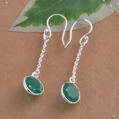 925 SOLID STERLING SILVER GREEN ONYX EARRING 2.55g DJER1350 #Handmade #Earring