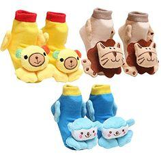 3 Paar M�dchen Jungen Baby Anti-Rutsch Str�mpfe Hausschuhe-3D Cartoon Muster-0-6 Monate-Zuf�llige Farbe