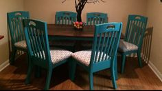I love when clients are bold with colors. Check out the table and chairs I painted for Renee!