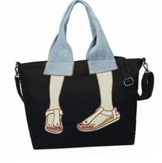 Canvas Funny Embroidery Tote Bag - Cheapest and Latest women & men fashion site including categories such as dresses, shoes, bags and - Funny Embroidery, Embroidery Bags, Tote Bags Online, Sacs Design, 31 Bags, Patchwork Bags, Denim Patchwork, Patchwork Quilting, Denim Quilts