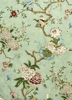 Oriental bird wallpaper in eau de nil