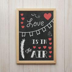 Love Is In The Air Kunstdruck Poster A4 Liebe Herz Kreide Tafel Druck Geschenk