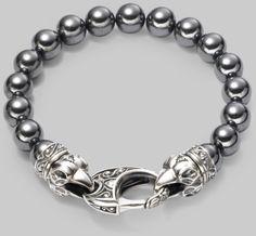 Bead Bracelets for Men | Stephen Webster Ravens Head Bead Bracelet in Silver for Men - Lyst