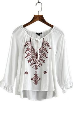 Specifications: Decoration:Embroidery Clothing Length:Regular Pattern Type:Geometric Sleeve Style:Regular Style:Fashion Fabric Type:Chiffon Material:Polyester Collar:O-Neck Sleeve Length:Three Quarter