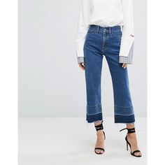 EVIDNT High Waist Two Tone Kick Flares (97 AUD) ❤ liked on Polyvore featuring jeans, blue, high rise jeans, high waisted flare jeans, high-waisted jeans, wide leg jeans and cropped flare jeans