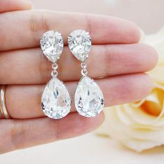 Clear White Swarovski Crystal Estate Style Earrings - Earrings Nation