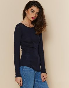 Glassons Crew Neck 100% Merino wool Top in BLUE ASHES