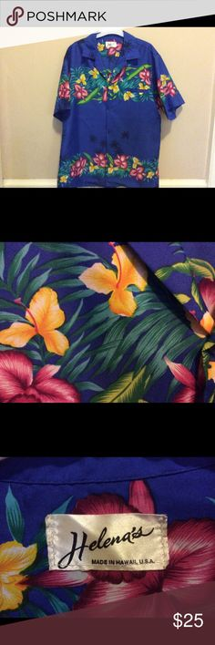 Men's Retro Hawaiian Shirt 70's era Hawaiian shirt featuring pink and yellow hibiscus flowers on cobalt blue background.Fits to a substantial large with 46 inch plus chest. Inset pocket on left. Helena Shirts Casual Button Down Shirts