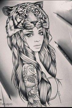 Chica con tigre en la cabeza.