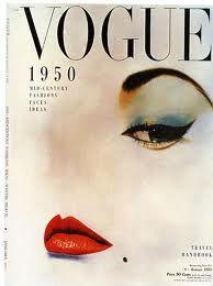 magazine vogue 1950. Bìa tạp chí vogue với bức illustration ( make up ) theo trường phái trừu tượng ấn tượng ( abstract expressionism )