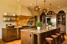 Rustic kitchen with painted walls that give an illusion of age and textile