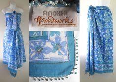 VTG Indian ANOKHI Artisan Hand Print Bead Sarong Wrap Dress Skirt Beach Cover Up   18.07