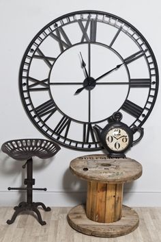 This Large Black Round Metal Clock Has Clear Roman Numerals And Neat Hands The Movement Is Battery Ed Easy To Hang