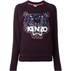 Kenzo 'Tiger' sweatshirt (23.090 RUB) via Polyvore featuring tops, hoodies, sweatshirts, purple, long sleeve sweatshirt, purple long sleeve top, kenzo sweatshirts, kenzo and patterned tops