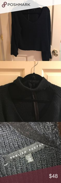 NWOT Black knit choker sweater NWOT Black knit choker sweater. Slight flare/ bell sleeve English Factory Sweaters Cardigans
