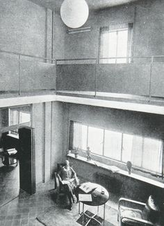 Living room from one of the duplex apartments in calle Muntaner, Barcelona, 1934 Duplex Apartment, Apartments, Barcelona, Le Corbusier, Modernism, Modern Architecture, Living Room, Contemporary Architecture, Towers