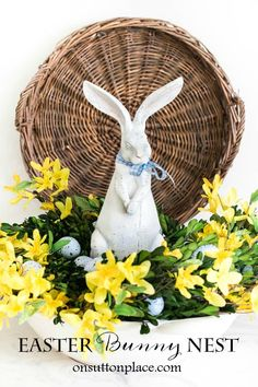 Make a DIY Easter Bunny Nest in just a few minutes! All materials can be easily found at craft stores. Perfect for spring decor and Easter decor.