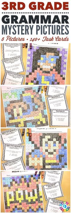 These SUPER FUN 3rd grade grammar mystery pictures are perfect for practicing key 3rd grade Common Core language standards! This set includes 6 different pictures and over 140 task cards covering plural nouns, abstract nouns, simple verb tenses, irregular verbs, subject-verb agreement, pronoun-antecedent agreement, and comparative and superlative adjectives and adverbs!