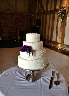 Wedding Cake by Charlotte of Apple Charlotte cakes in the Great Barn at Micklefield Hall  www.micklefieldhall.com