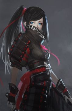 Female fantasy warrior, perhaps resembling a samurai soldier or assassin. Character Concept, Character Art, Concept Art, Character Portraits, Character Ideas, Art Manga, Manga Anime, Anime Art, Fantasy Characters