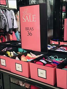If you have a big bra sale with lots of sizes and styles, table-top bins like these can help you spread out your offering for easier browsing and selection. The Pink Semi-Annual Sale Sign and match...