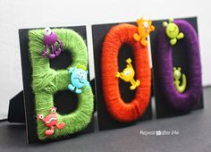 Repeat Crafter Me: Yarn Wrapped BOO Letters for Halloween