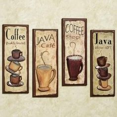 Java Cafe Wall Plaque Set For Kitchen 99