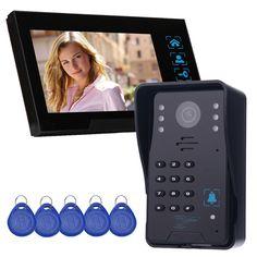 """7"""" Color Video Door Phone Video Intercom Monitor Intercom Doorbell Camera RFID Access Control System & 5 ID Card F4361A"""