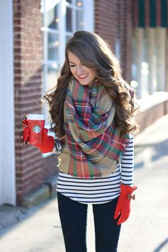 ShopBellaC blanket scarf (available for pre-order!) // striped turtleneck // monogrammed...