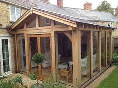timber frame lean to extensions Oak Framed Extensions, House Extensions, Barn Renovation, Cottage Renovation, Cottage Extension, Oak Framed Buildings, Casa Patio, Garden Buildings, Rose Cottage