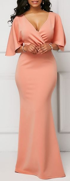 Wrap V Neck Pink Half Sleeve Mermaid Dress.