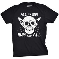 All for Rum Funny Drinking T-shirt Cool Movie Pirate Sword Tees