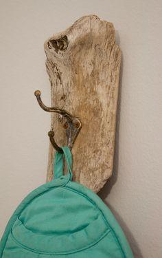 Serviette en bois flotté, clé, manteau ou Misc Hanger - Beachy/petit modèle